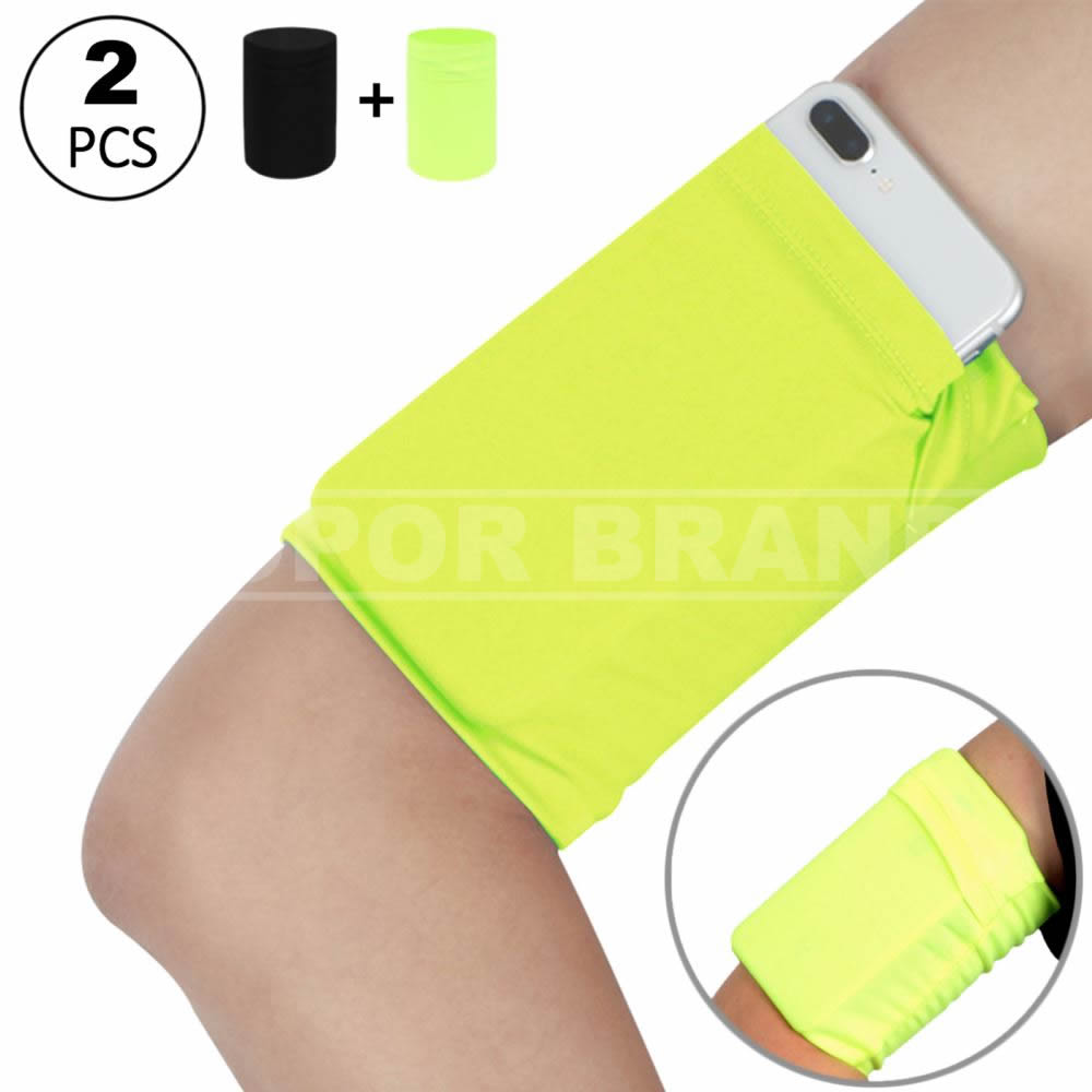 2pcs Running Armband Sleeve for Cellphone - Hidden Pocket Arm Wrist Band Sleeve Wristband Pouch Case for Walking Exercise Workout Gardening Fishing Training Jogging Key Cell Phone - Yellow+Black/Small